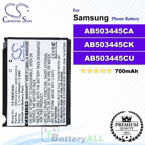 CS-SMZ630SL For Samsung Phone Battery Model AB503445CU / AB503445CA / AB503445CK
