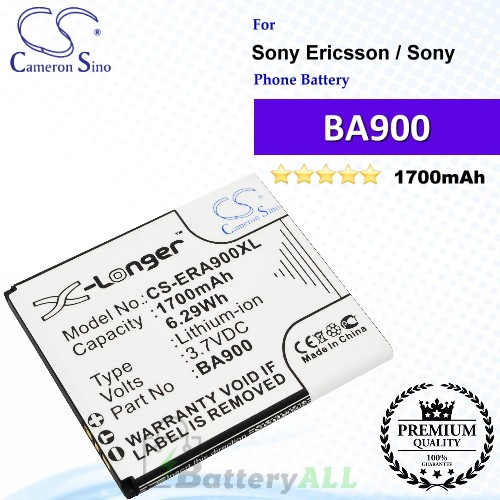 CS-ERA900XL For Sony Ericsson / Sony Phone Battery Model BA900