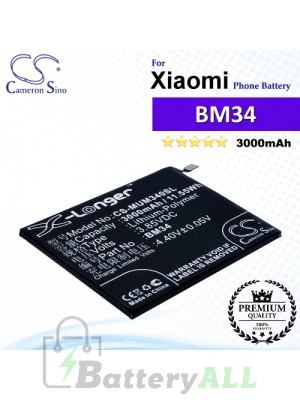 CS-MUM340SL For Xiaomi Phone Battery Model BM34
