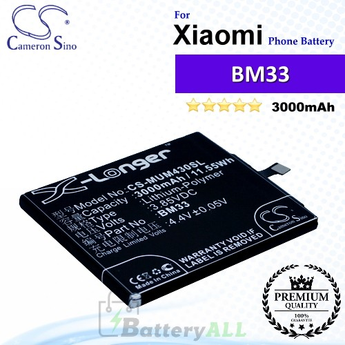 CS-MUM430SL For Xiaomi Phone Battery Model BM33