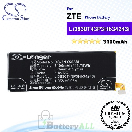 CS-ZNX505SL For ZTE Phone Battery Model Li3803T43P3hB34243 / Li3830T43P3hB34243i