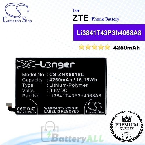 CS-ZNX601SL For ZTE Phone Battery Model Li3841T43P3h4068A8