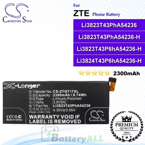 CS-ZTG717XL For ZTE Phone Battery Model Li3823T43PhA54236 / Li3823T43PhA54236-H / Li3823T43P6hA54236-H / Li3824T43P6hA54236-H