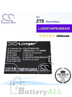 CS-ZTN531SL For ZTE Phone Battery Model Li3829T44P6h806435