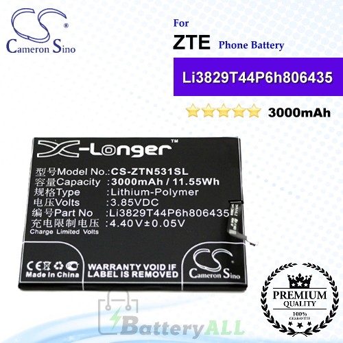 CS-ZTN531SL For ZTE Phone Battery Model Li3829T44P6h806435
