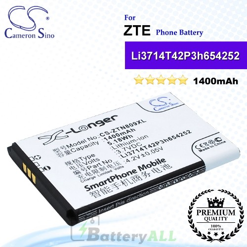 CS-ZTN809XL For ZTE Phone Battery Model Li3714T42P3h654252