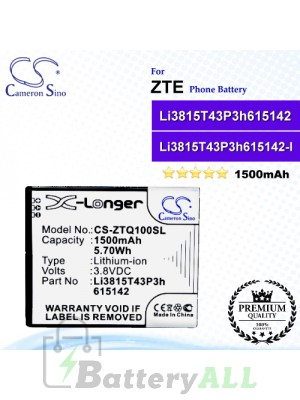 CS-ZTQ100SL For ZTE Phone Battery Model Li3815T43P3h615142 / Li3815T43P3h615142-I