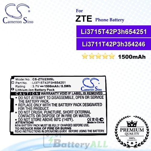 CS-ZTU230SL For ZTE Phone Battery Model Li3711T42P3h354246 / Li3712T42P3h654246h / Li3714T42P3H654251
