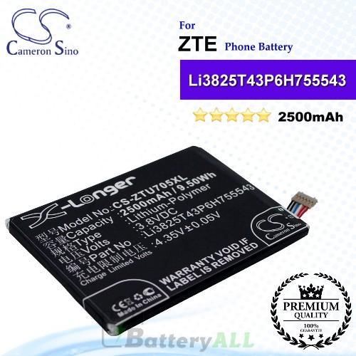 CS-ZTU705XL For ZTE Phone Battery Model Li3825T43P6H755543