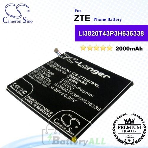 CS-ZTU879XL For ZTE Phone Battery Model Li3820T43P3H636338 / Li3820T43PH636338