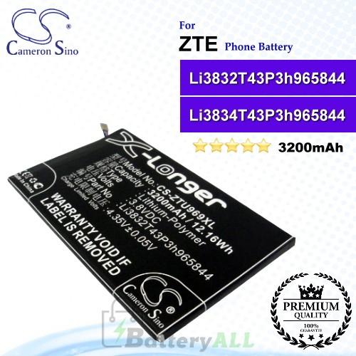 CS-ZTU969XL For ZTE Phone Battery Model Li3832T43P3h965844 / Li3834T43P3h965844