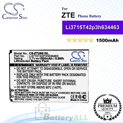 CS-ZTU981SL For ZTE Phone Battery Model Li3715T42P3h634463