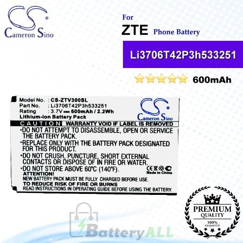 CS-ZTV300SL For ZTE Phone Battery Model Li3706T42P3h533251