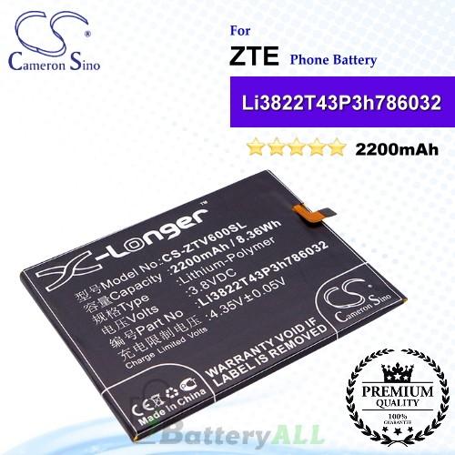 CS-ZTV600SL For ZTE Phone Battery Model Li3822T43P3h786032
