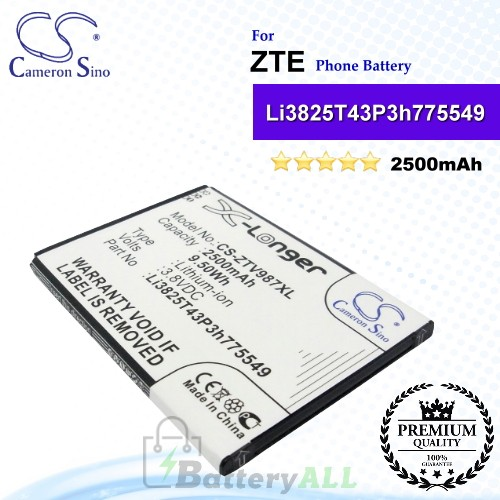 CS-ZTV987XL For ZTE Phone Battery Model Li3825T43P3h775549