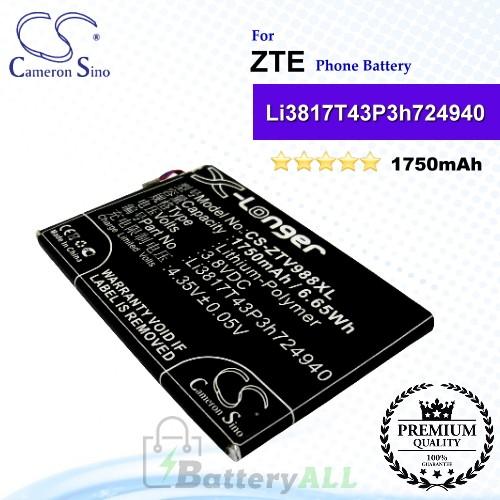 CS-ZTV988XL For ZTE Phone Battery Model Li3817T43P3h724940