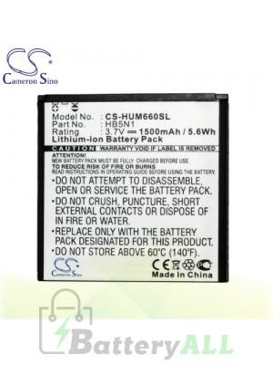 CS Battery for Huawei Ascend Q / Huawei Unite Q / Huawei Wvga Battery PHO-HUM660SL
