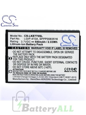 CS Battery for LG LGIP-410A / SPPP0083516 / SBPL0085603 Battery PHO-LKE770SL