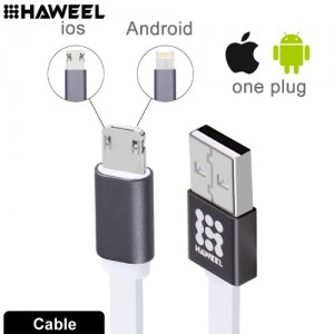 HAWEEL 1m Noodle Style 2 in 1 Micro USB & 8 Pin Both Side Data Sync Charging Cable HWL-1021W