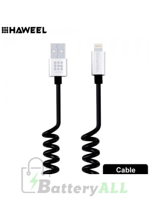 HAWEEL 2A 8 Pin to USB 2.0 Retractable Coiled Data Sync Charging Cable HWL1023S