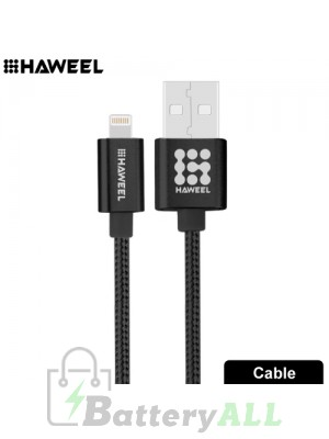 HAWEEL 1m Nylon Woven Metal Head 3A 8 Pin to USB 2.0 Sync Data Charging Cable HWL1025B