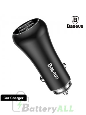 Baseus Gentleman Series QC3.0 Dual-USB Metal Smart Car Fast Charger IPXG0324B