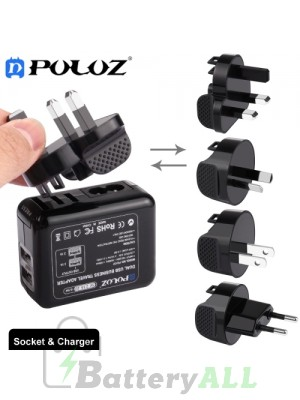 PULUZ 2 Ports USB 5V (2.1A + 2.1A) Wall Charger Set Travel Power Adapters for GoPro HERO4 Session /4 /3+ /3 /2 /1 PU137