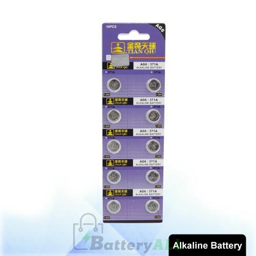 10 pcs AG6 / 371A 1.55V Alkaline Button Battery S-LIB-0312