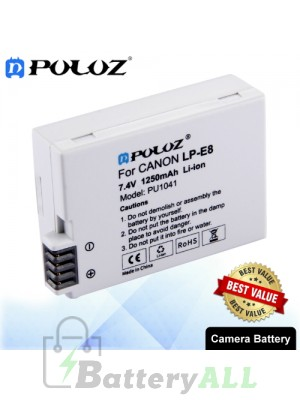 PULUZ LP-E8 7.4V 1250mAh Camera Battery for Canon EOS Rebel T5i / EOS Rebel T4i / EOS Rebel T3i / EOS Rebel T2i PU1041
