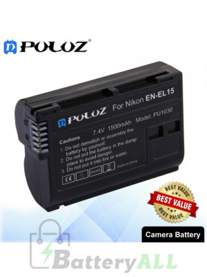 PULUZ EN-EL15 7.4V 1500mAh Camera Battery for Nikon D7500 / D7000 / D800 / D800E / V1 / MB-D11 / MB-D12 PU1030