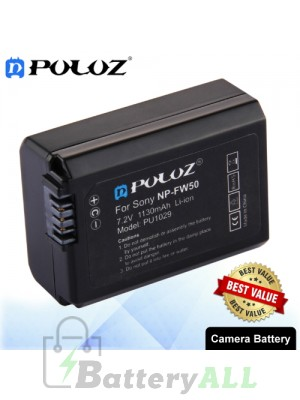 PULUZ NP-FW50 7.4V 1130mAh Camera Battery for Sony ILCE-6500 / ILCE-6300 / ILCE-7SM2/ NEX3 / SLT-A33 PU1029