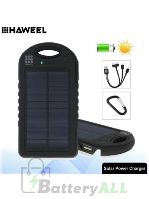 HAWEEL 8000mAh Double USB Power Bank Solar Charger with LED Flash Light HWL-9050B