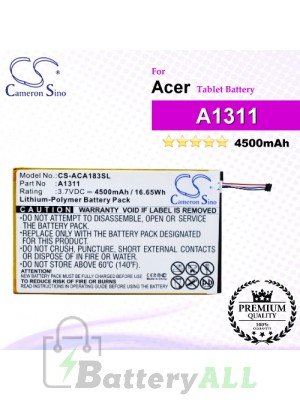 CS-ACA183SL For Acer Tablet Battery Model A1311 / KT.0010M.004