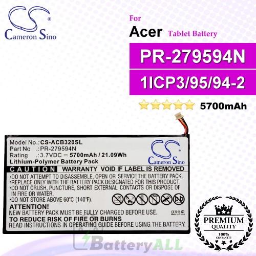 CS-ACB320SL For Acer Tablet Battery Model PR-279594N / PR-279594N(1ICP3/95/94-2)