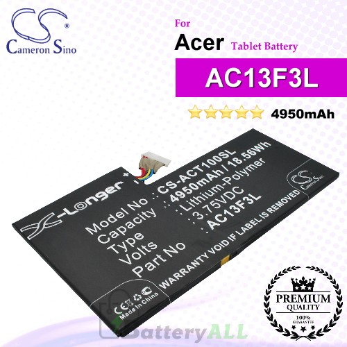 CS-ACT100SL For Acer Tablet Battery Model AC13F3L
