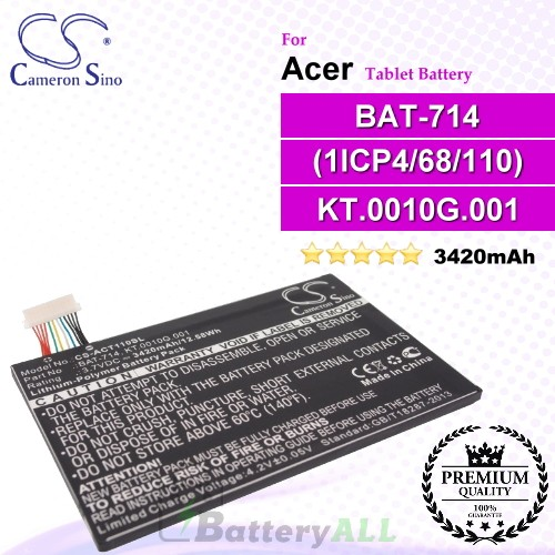 CS-ACT110SL For Acer Tablet Battery Model (1ICP4/68/110) / BAT-714 / KT.0010G.001