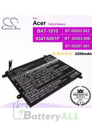 CS-ACT500SL For Acer Tablet Battery Model 934TA001F / BAT-1010 / BT.00203.002 / BT.00203.008 / BT.00207.001