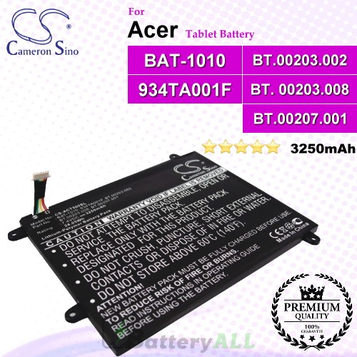 CS-ACT500SL For Acer Tablet Battery Model 934TA001F / BAT-1010 / BT.00203.002 / BT.00203.008 / BT.00207.001