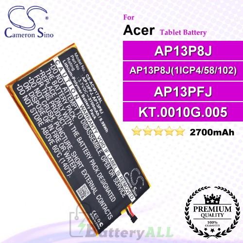 CS-ACW172SL For Acer Tablet Battery Model AP13P8J / AP13P8J(1ICP4/58/102) / AP13PFJ / KT.0010G.005