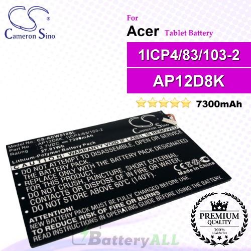 CS-ACW510SL For Acer Tablet Battery Model 1ICP4/83/103-2 / AP12D8K
