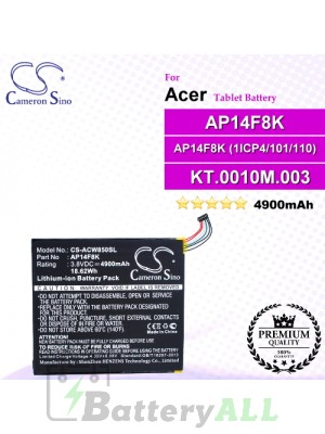 CS-ACW850SL For Acer Tablet Battery Model AP14F8K / AP14F8K (1ICP4/101/110) / KT.0010M.003