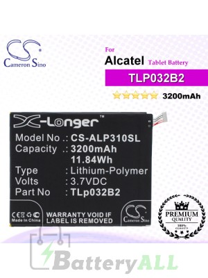 CS-ALP310SL For Alcatel Tablet Battery Model TLp032B2 / TLp032BD / TLp032C2