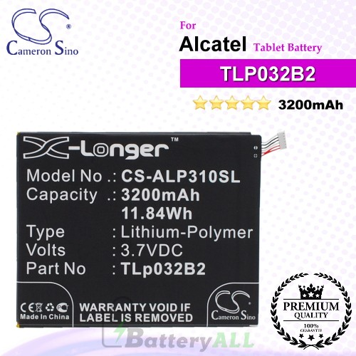 CS-ALP310SL For Alcatel Tablet Battery Model TLp032B2 / TLp032BD / TLp032C2