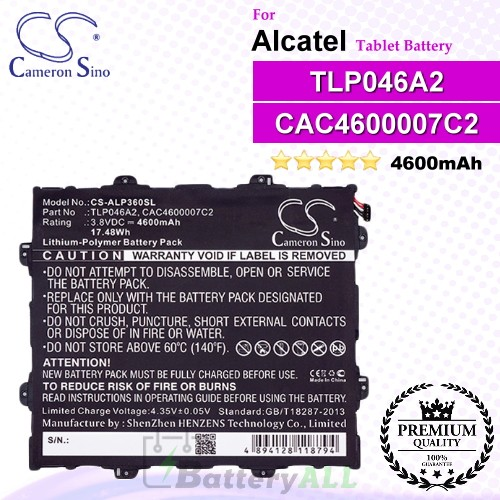 CS-ALP360SL For Alcatel Tablet Battery Model CAC4600007C2 / TLP046A2