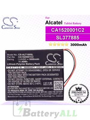 CS-ALT100SL For Alcatel Tablet Battery Model CA1520001C2 / SL377885
