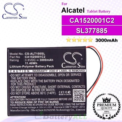 CS-ALT100SL For Alcatel Tablet Battery Model CA1520001C2 / SL377885