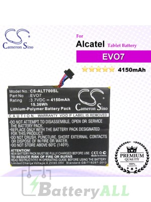 CS-ALT700SL For Alcatel Tablet Battery Model CAB4160000C1 / EVO7