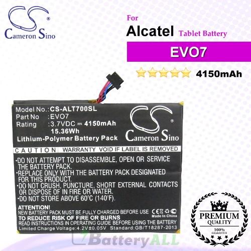 CS-ALT700SL For Alcatel Tablet Battery Model CAB4160000C1 / EVO7