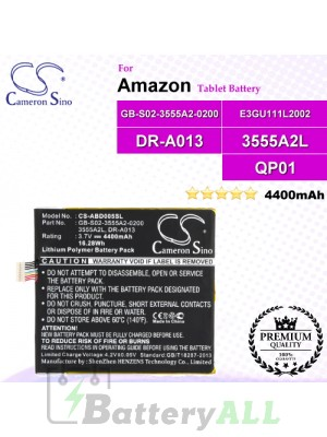 CS-ABD005SL For Amazon Tablet Battery Model 3555A2L / DR-A013 / E3GU111L2002 / GB-S02-3555A2-0200 / QP01