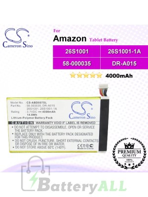 CS-ABD007SL For Amazon Tablet Battery Model 26S1001 / 26S1001-1A / 58-000035 / DR-A015